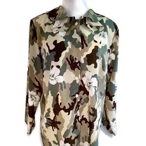 Fashion Jouly Camo and Floral Top Sz 2X